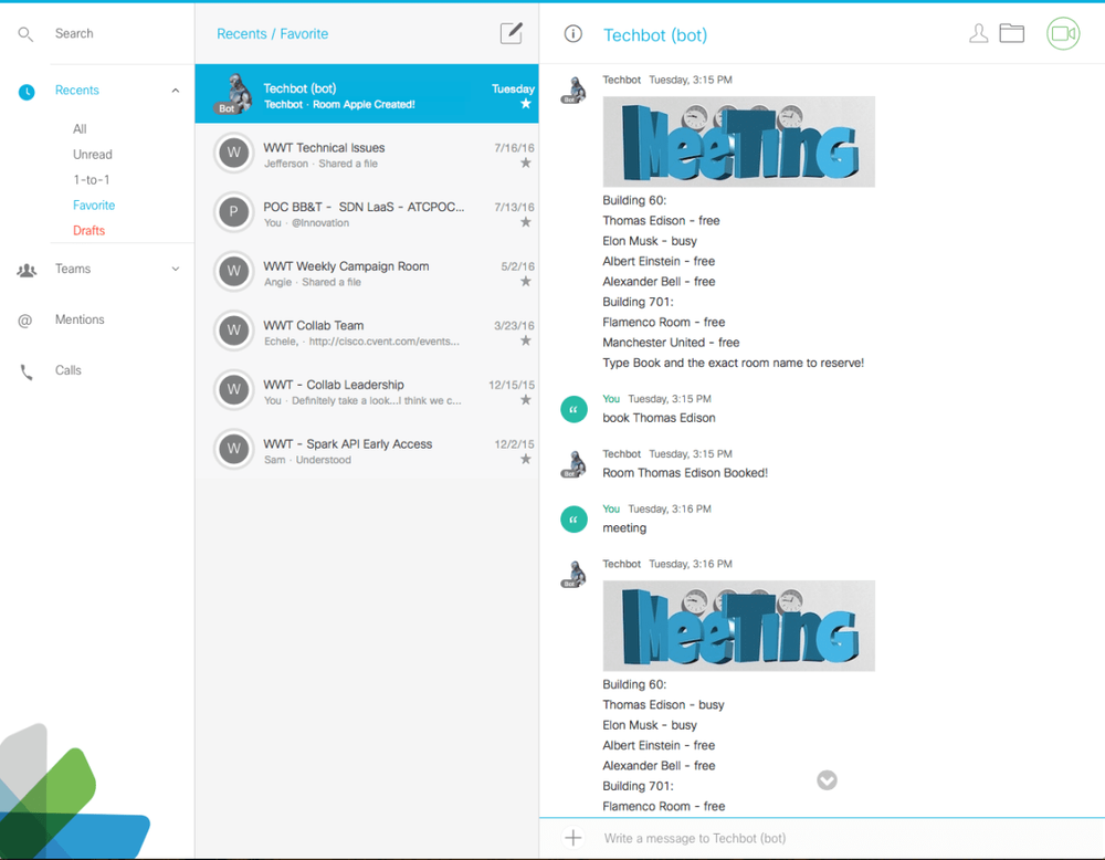 "Adding the Cisco Calendar Connector allows creating meetings by using ""@webex"""
