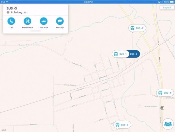 app screenshot - Administrator view of bus fleet