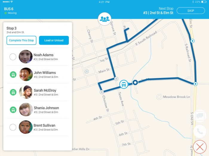 app screenshot - Route information and student roster for bus driver