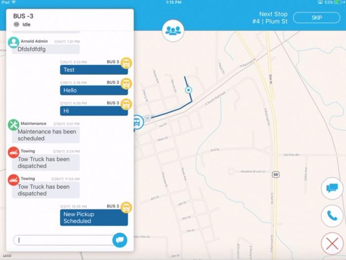 app screenshot - Real-time updates of bus status