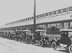 A line of Model T's