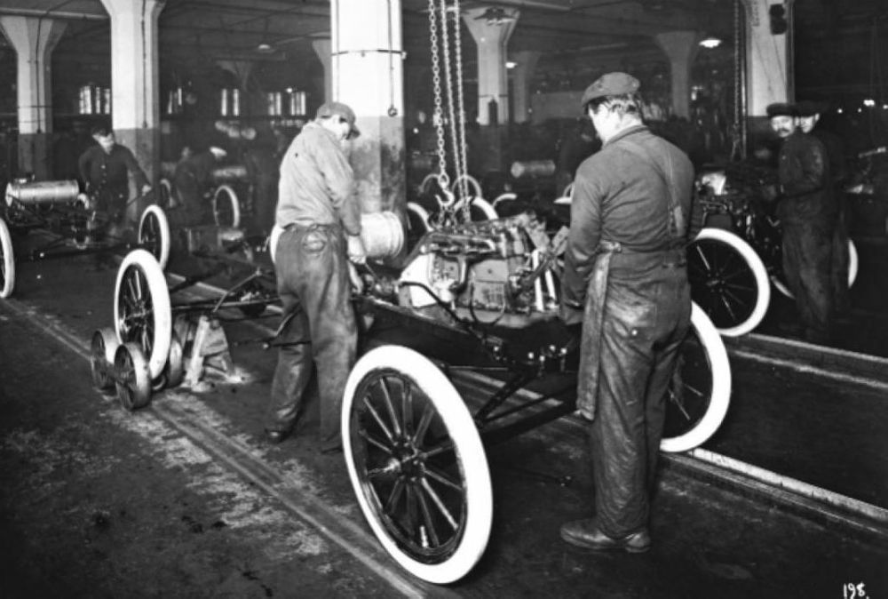 Men assembling a Model T