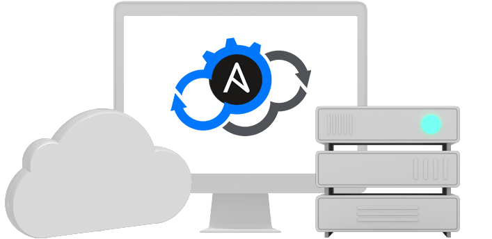 A cloud, a desktop with the Ansible and Cloudify logos combined, and a network device