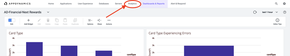 Screenshot pointing out the Analytics tab
