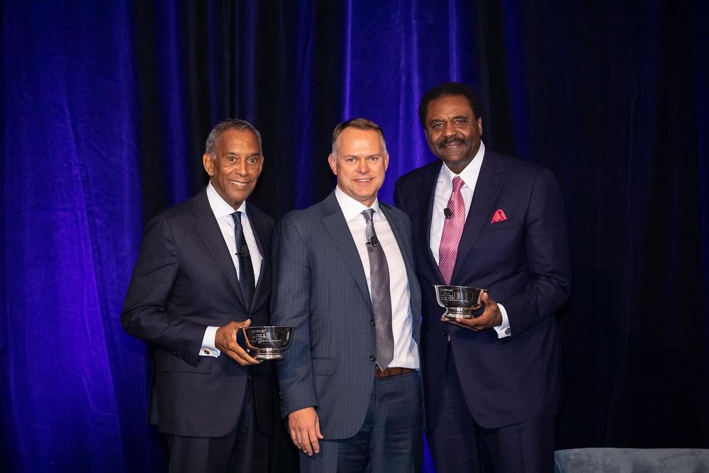 Microsoft Chairman John Thompson (left), WWT  Vice President of Global Enterprise Sales Matt Horner (middle) and Dave Steward (right).