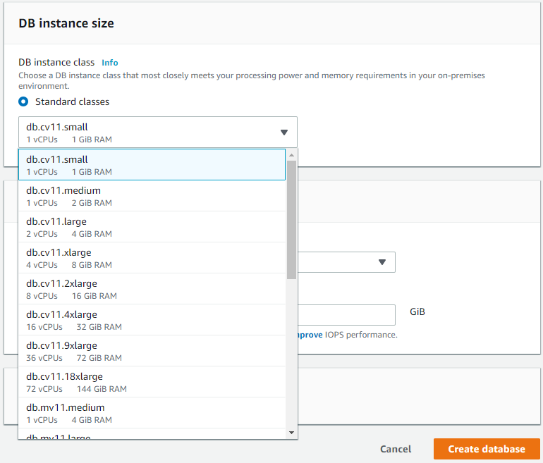 Selecting an RDS instance size