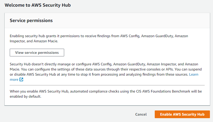 Enabling AWS Security Hub