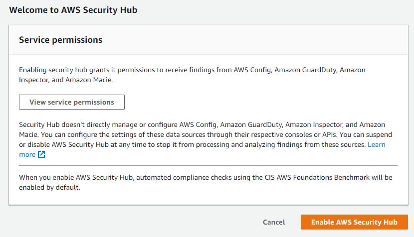 Enabling AWS Security Hub