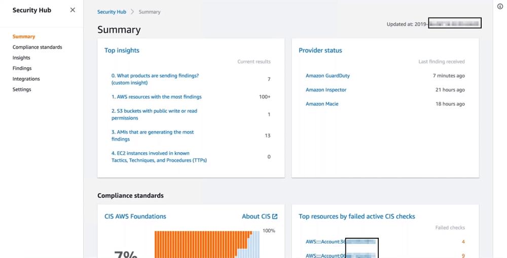 AWS Security Hub summary page
