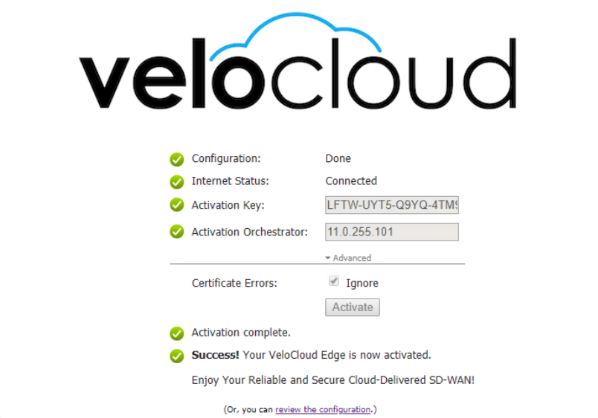 Successfully registering a VeloCloud Edge device via Zero Touch Provisioning in our lab