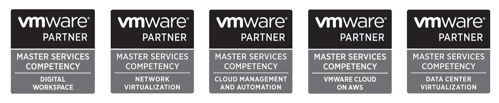 WWT's five VMware Master Services Competencies badges.