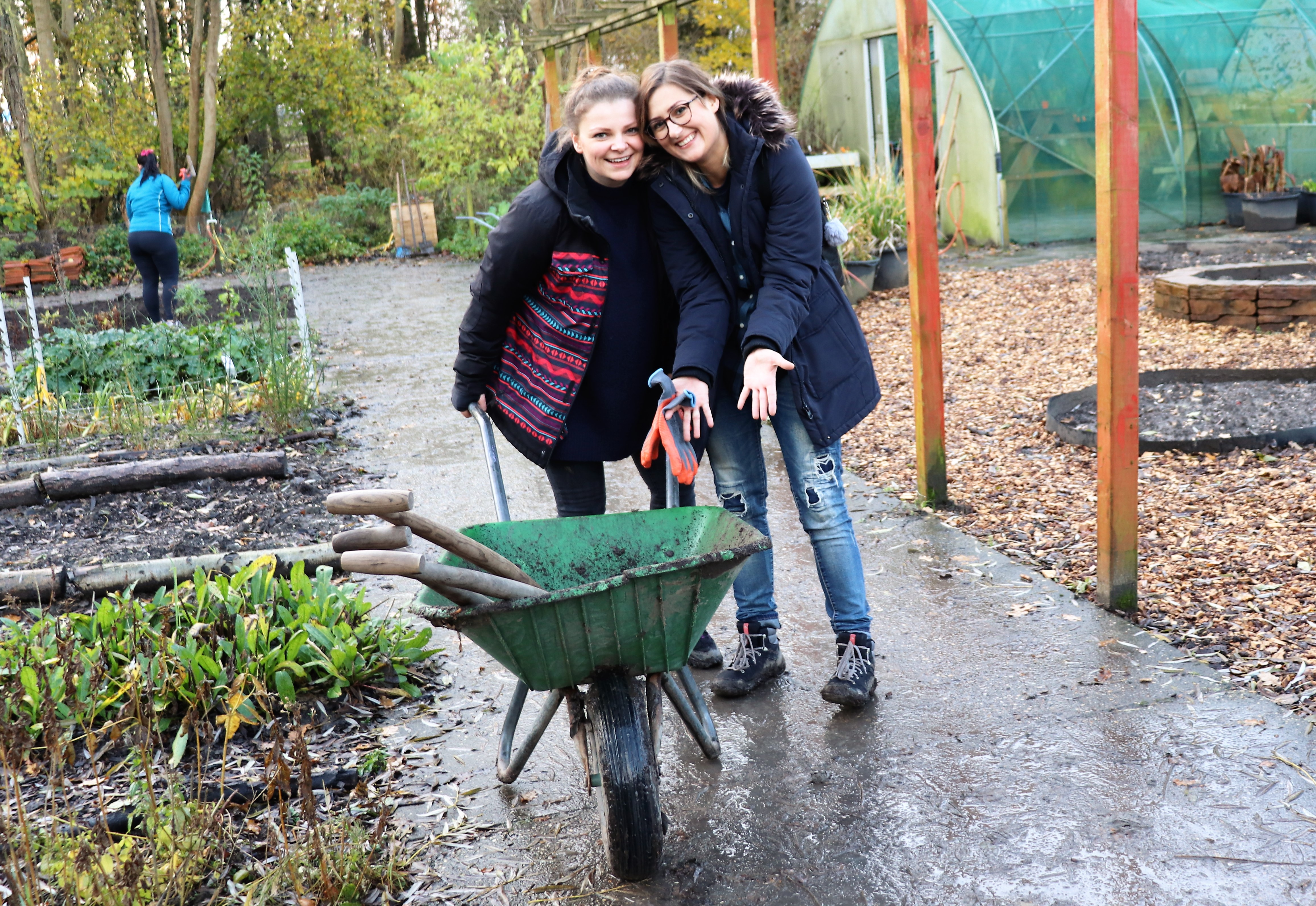 Kasia Padding-Slodziak (right) during her Day of Caring