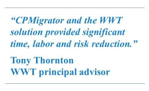 CPMigrator and the WWT solution provided significant time, labor and risk reduction.