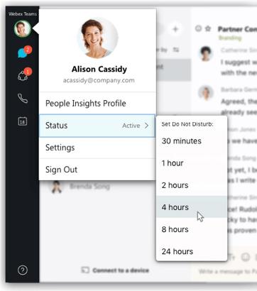 Webex Teams Profile Status options