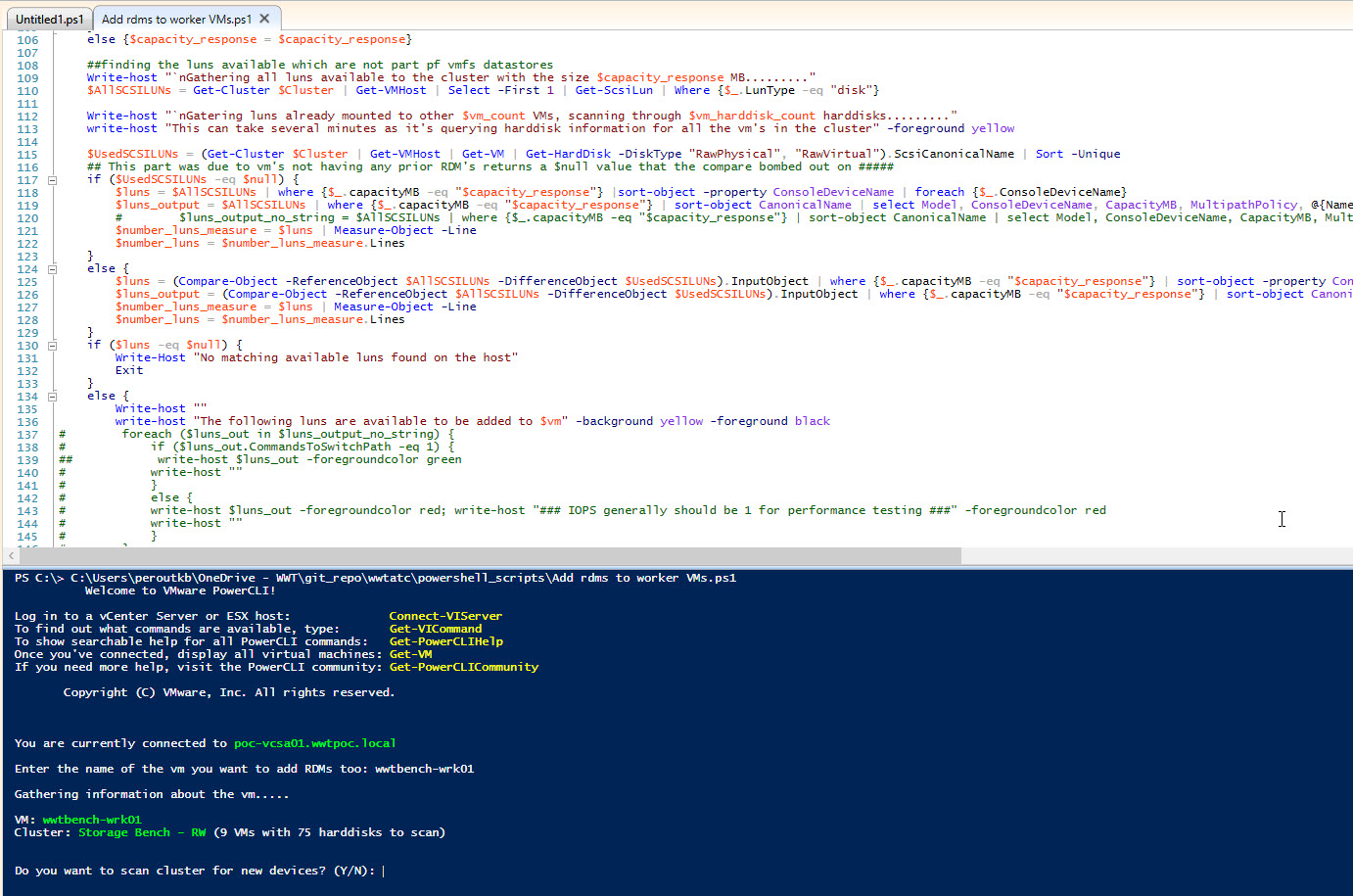 snip of the code used and code running via PowerCLI