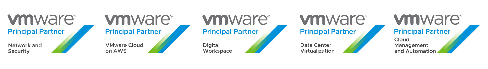 VMware Principal Partner badges (left to right): Network and Security, VMware Cloud on AWS, Digital Workspace, Data Center Virtualization, Cloud Management and Automation.