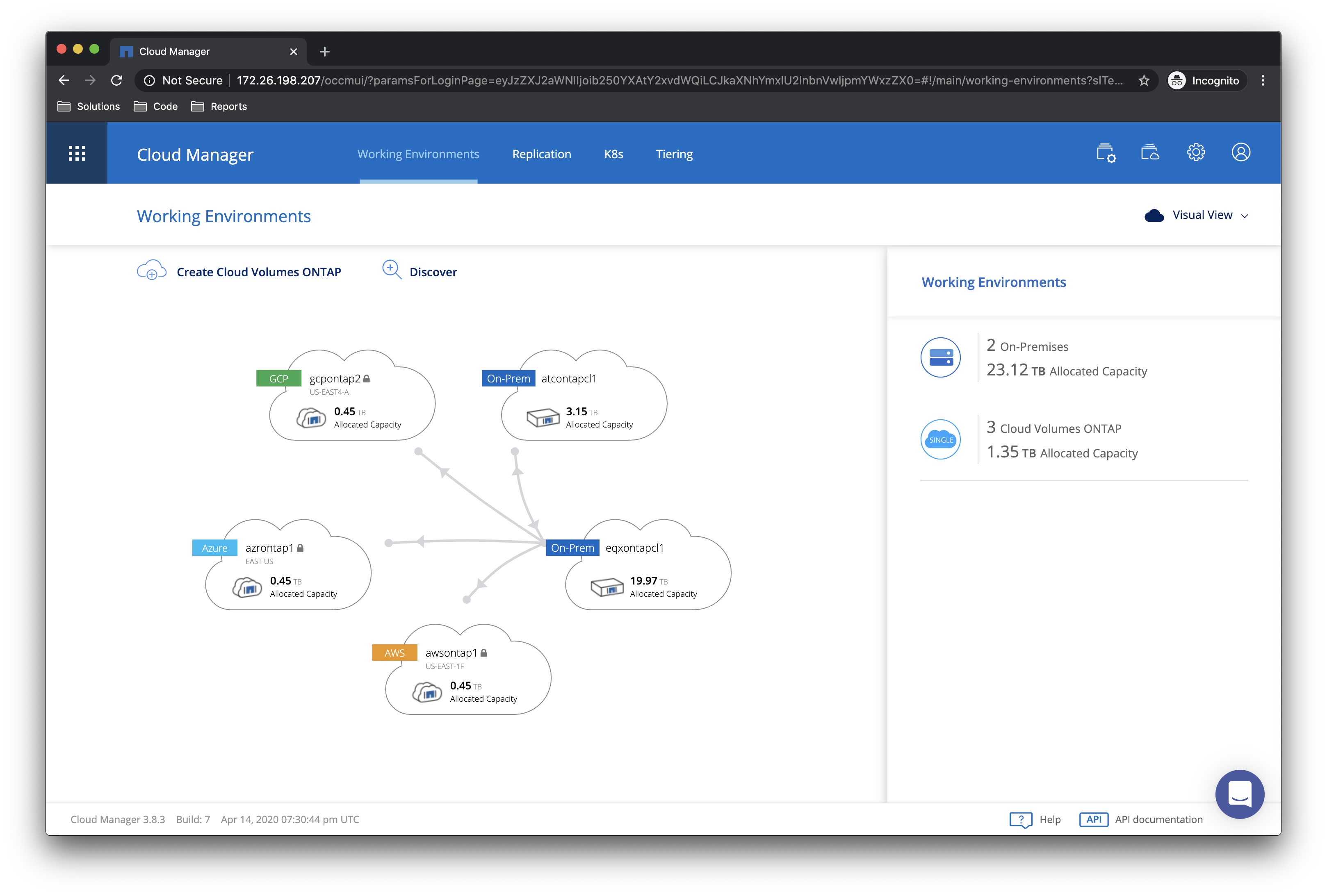NetApp Cloud Manager dashboard