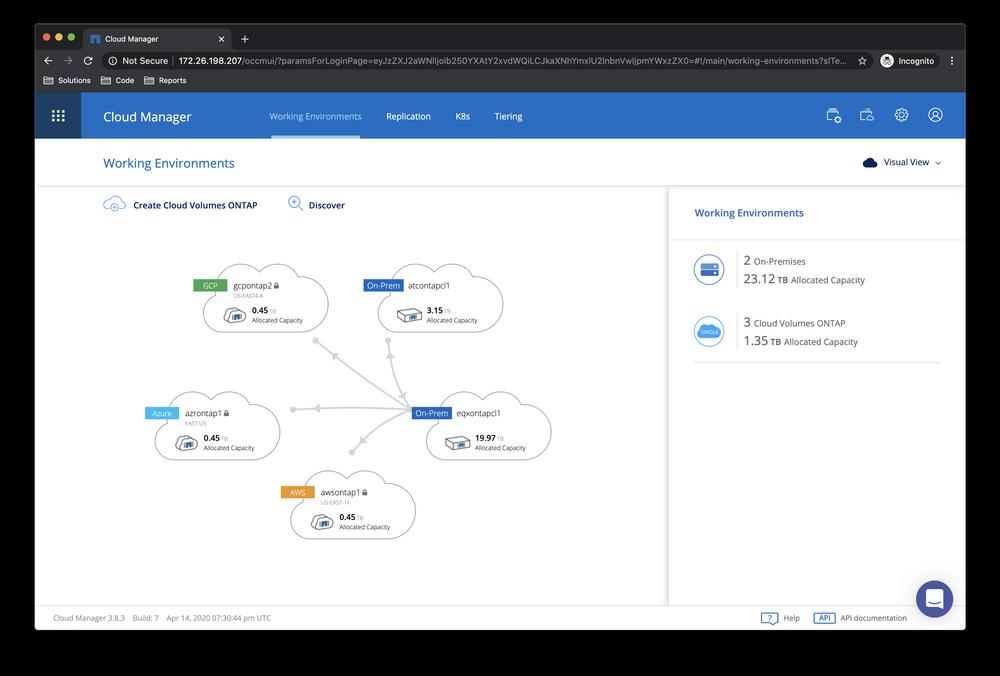 NetApp Cloud Manager dashboard