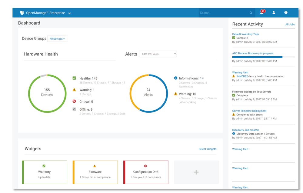 OpenManage Enterprise dashboard