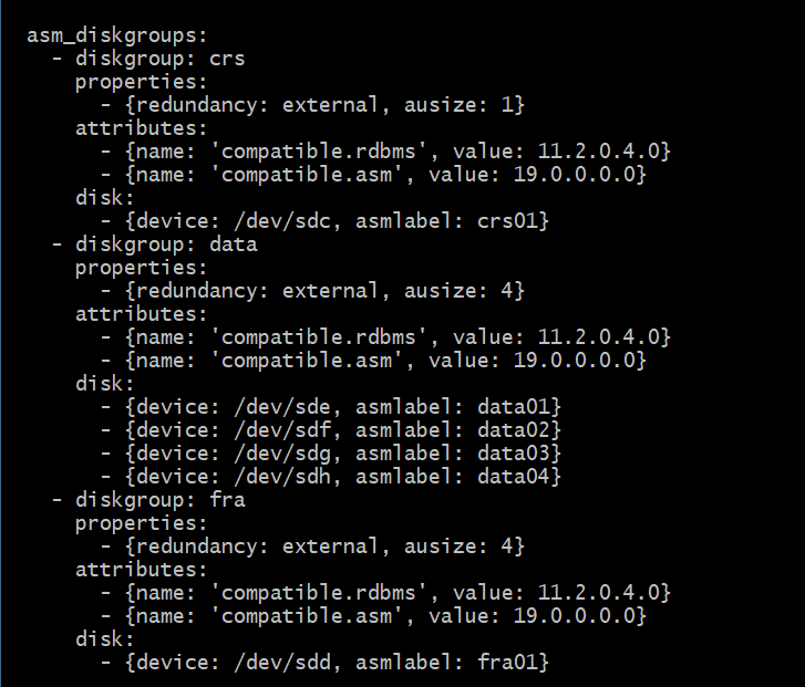 Configuration file used in the Ansible playbook that created the diskgroups for Oracle ASM