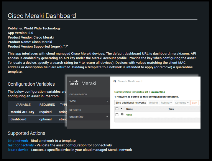 Cisco Meraki app for Phantom Cyber