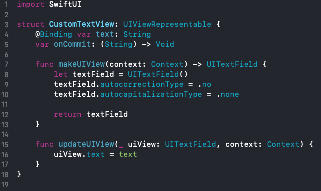 makeUIView and updateUIView functions