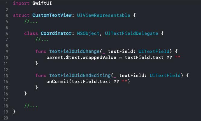 Coordinator class nested inside CustomTextVIew with additional methods textFieldDidChange