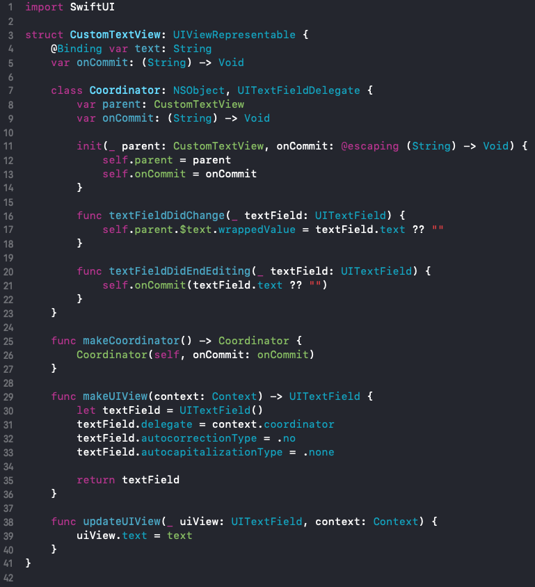Full CustomTextView struct code