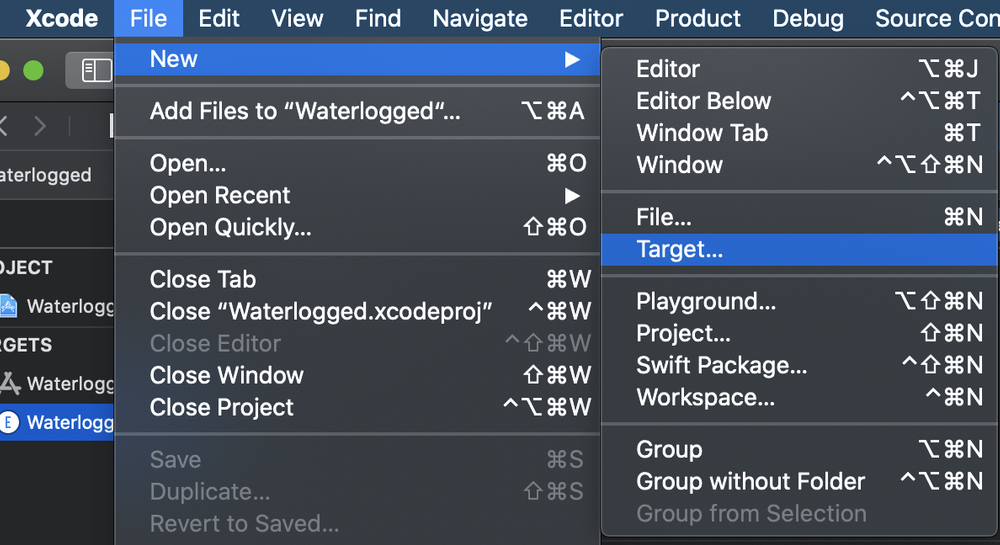 Selecting File, New, Target in Xcode