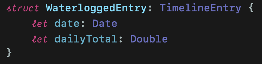 WaterloggedEntry struct confirming to TimelineEntry protocol