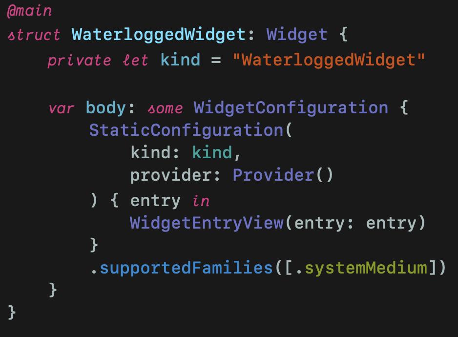 WaterloggedWidget struct with @main attribute