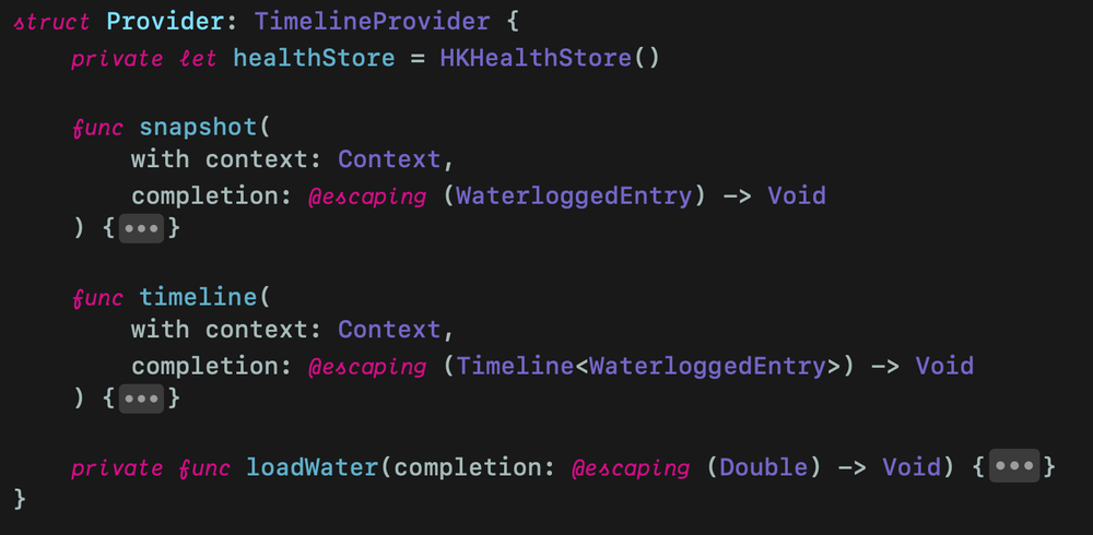 Provider struct conforming to TimelineProvider protocol