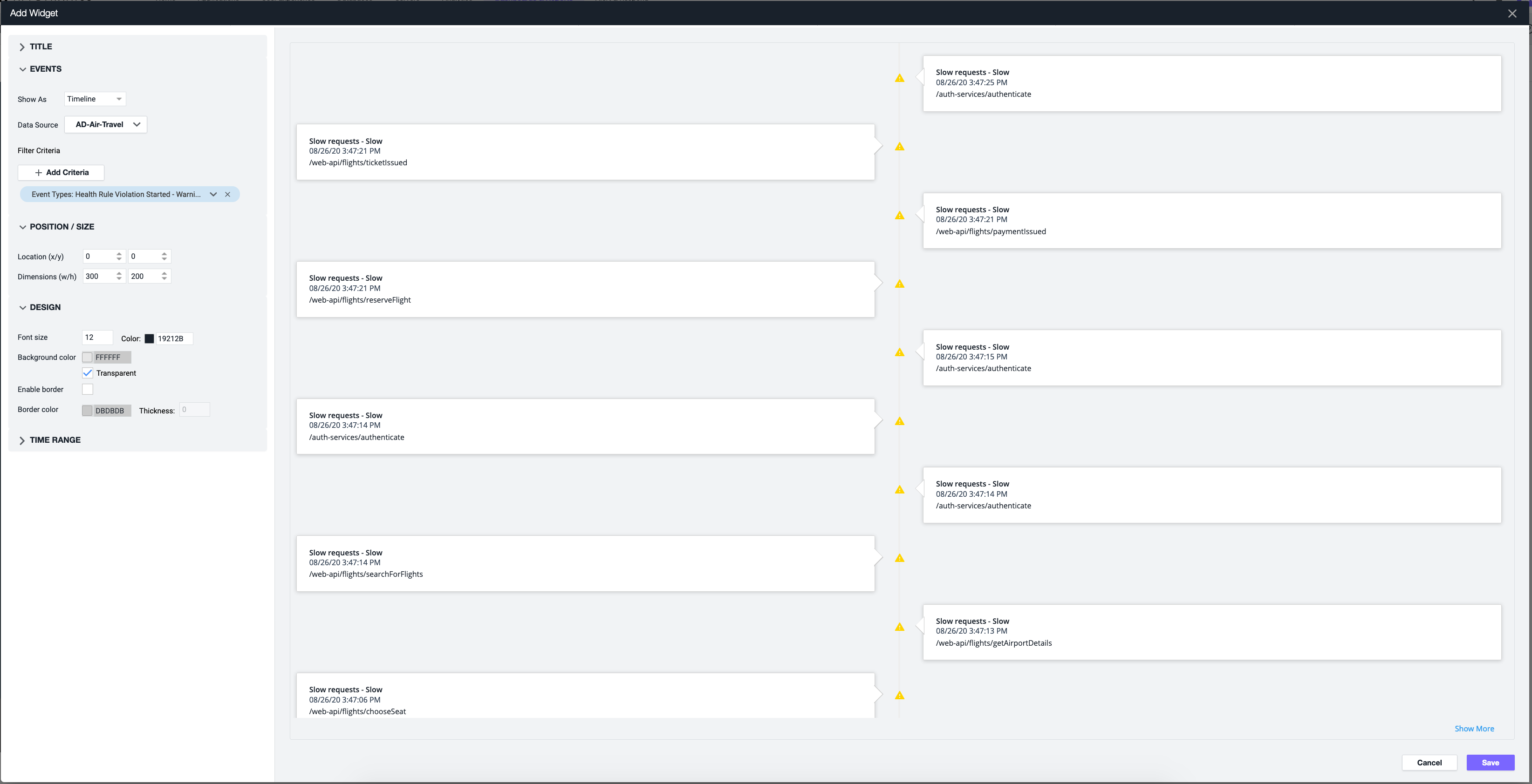 Event List Widget settings