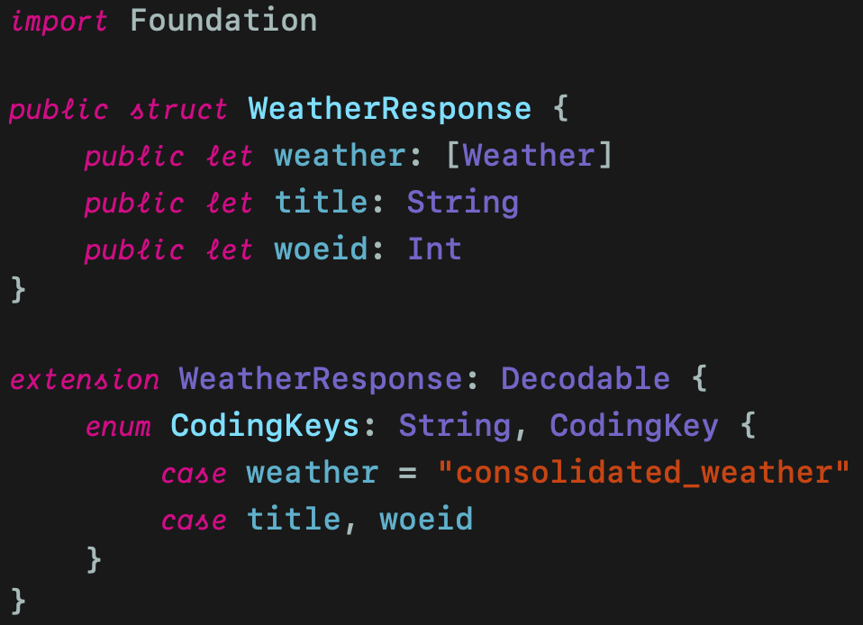 WeatherResponse struct with weather, title and woeid properties
