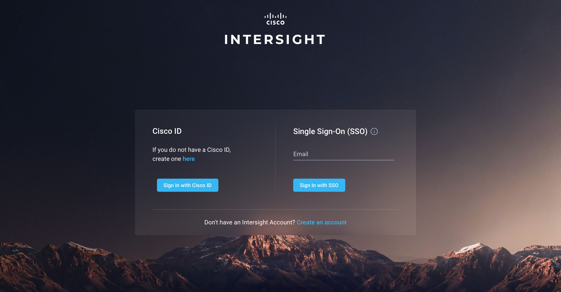 Cisco Intersight login screen