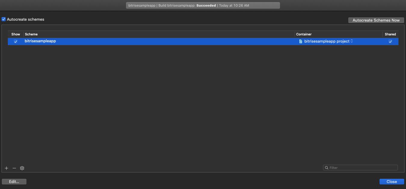 Manage schemes in Xcode
