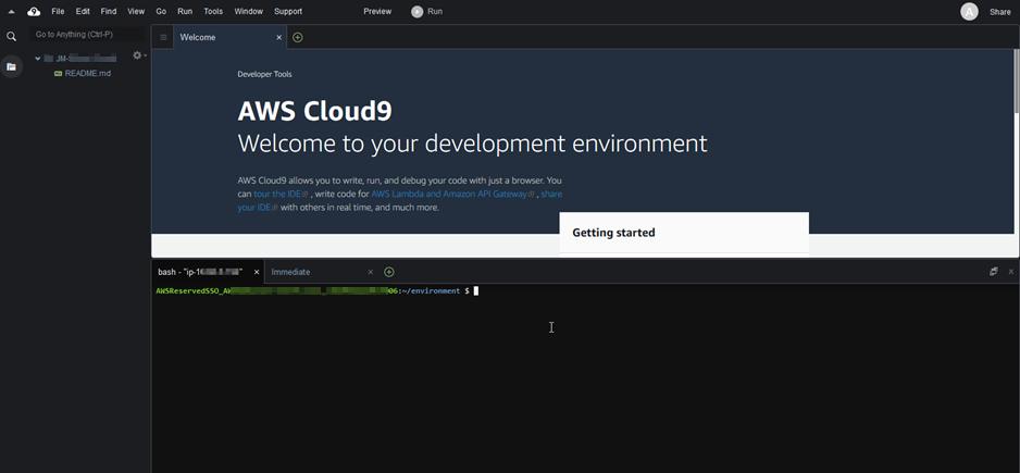 AWS Cloud9 welcome page screenshot