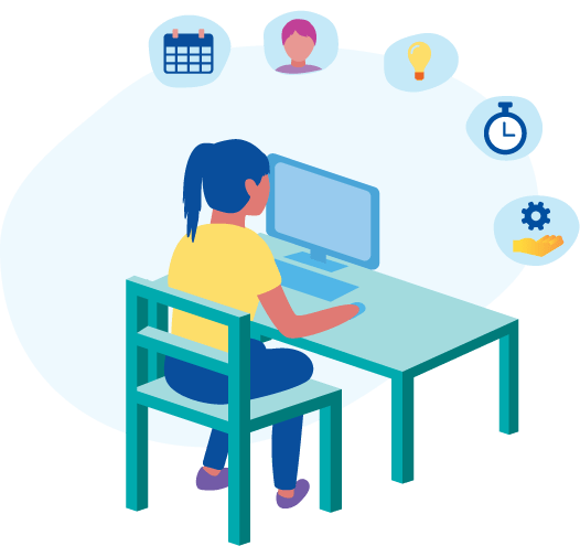 Illustration of a student sitting at a desk while working on a computer with floating symbols representing the various benefits of hybrid and blended learning.