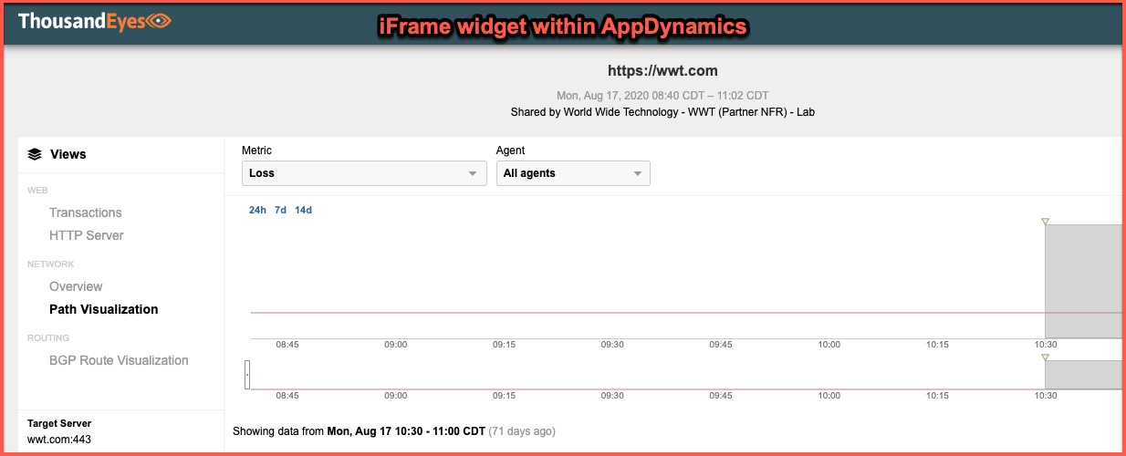 iFrame widget within AppDynamics