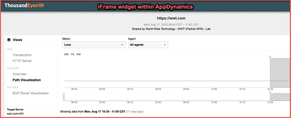 iFrame widget within AppDynamics