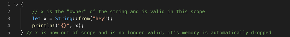 Rust code showing a basic example of the scope of a variable and that the variable is only valid in that scope