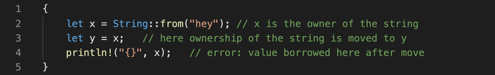 Rust code that shows moving the ownership of a variable to another variable and the resulting error if the first variable is used afterward.