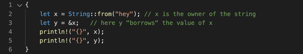 Rust code showing that you can borrow the value from another variable which solves the error of borrowing after moving.