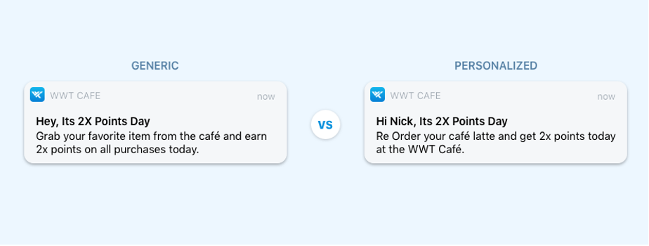 generic and personalized rewards notifications