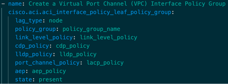 Ansible module to create VPC IPGs