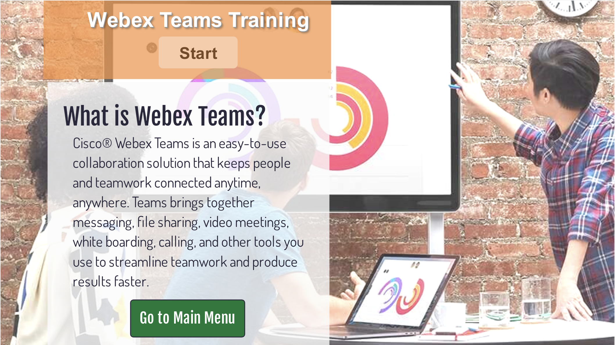 Webex Teams training click and learn