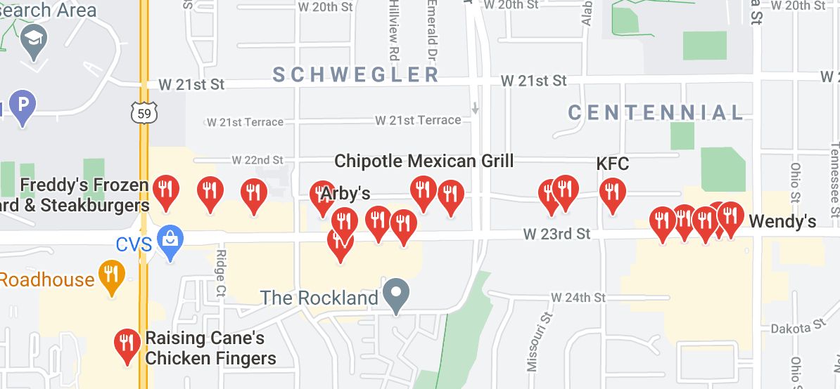 Map of QSRs on a 1 mile strip of W. 23rd Street in Lawrence, KS