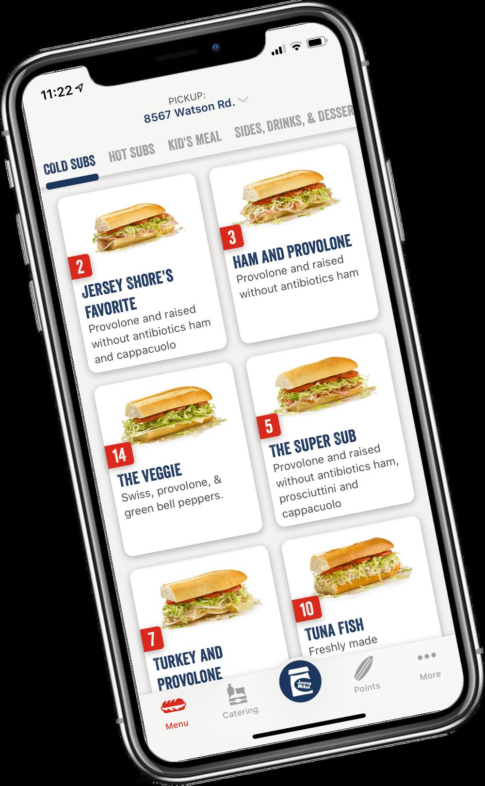 ordering sandwich on app