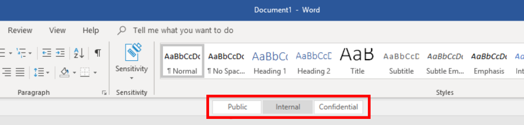 Example showing three labels Public, Internal and Confidential after AIP Unified Labeling client is installed
