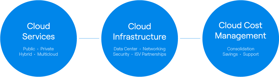 Three circles that read (from left to right) Cloud Services, Infrastructure Modernization, and Cloud Cost Management.